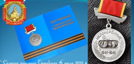 Вручение медалей «Непокоренные» жителям СП Ершовское